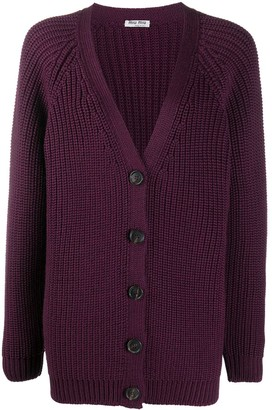 Miu Miu Virgin Wool Chunky Rib Knit Cardigan