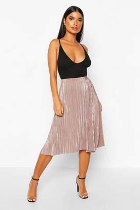 boohoo Petite Pleated Plissé Midi Skirt