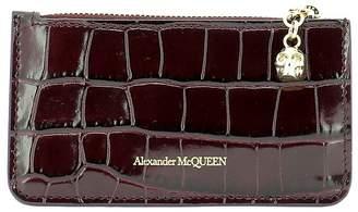 Alexander McQueen Croc Effect Skull Charmed Wallet