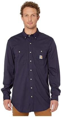 Carhartt Flame-Resistant (FR) Force Cotton Hybrid Shirt (Dark Navy) Men's Short Sleeve Button Up