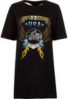 River Island Womens Black band print harness oversized T-shirt