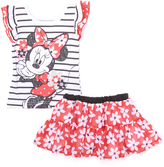 Children's Apparel Network Black Minnie Mouse Top & Red Skirt - Infant & Girls