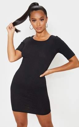 PrettyLittleThing Petite Black Ribbed Scooped T-Shirt Mini Dress