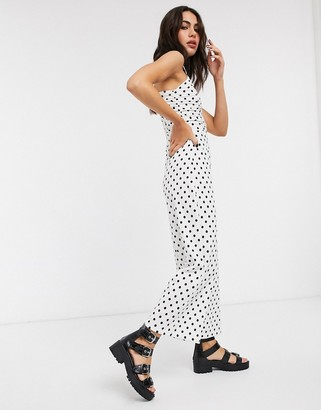 Bershka ruched front strappy jumpsuit in white polka dot