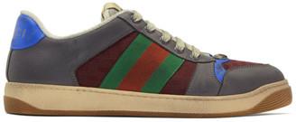 Gucci Grey and Burgundy Screener Sneakers