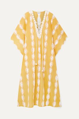 Miguelina Blair Crochet-trimmed Cotton-voile Kaftan - Marigold