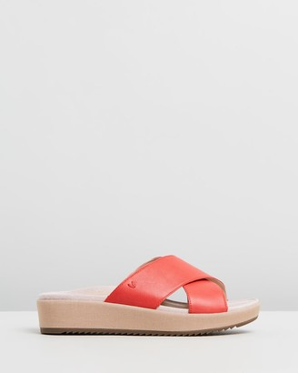 Vionic Women's Red Wedge Sandals - Hayden Platform Slides - Size One Size, 5 at The Iconic