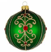 Christmas Shop 8CM BAUBLE GLASS GLITTER SWIRL GREEN