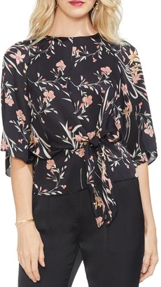 Vince Camuto Floral Print Bell Sleeve Tie Front Top