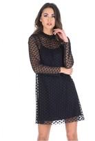 AX Paris Black Polka Dot Mesh Dress