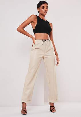 Missguided Sofia Richie X Stone Faux Leather Joggers