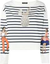 Dolce & Gabbana embellished striped top - women - Cotton/Polyamide/Polyurethane/Glass Fiber - 42