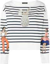 Dolce & Gabbana embellished striped top - women - Silk/Cotton/Polyamide/Glass Fiber - 38