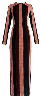 Gabriela Hearst Veria Striped Velvet Dress - Burgundy Stripe