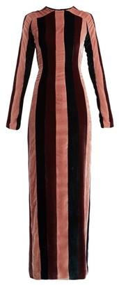 Gabriela Hearst Veria Striped Velvet Dress - Womens - Burgundy Stripe
