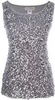 Anna-Kaci Womens Sparkle Glitter Sequin Embellished Sleeveless Round Neck Tank Top
