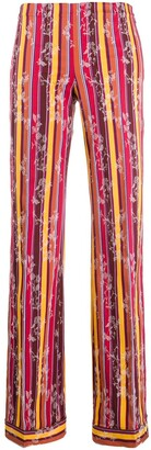 Romeo Gigli Pre Owned 1990s Striped Floral Trousers
