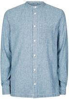 Topman Waven Blue Pinstripe Stand Collar Denim Shirt*