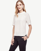 Ann Taylor Mixed Media Mock Neck Top