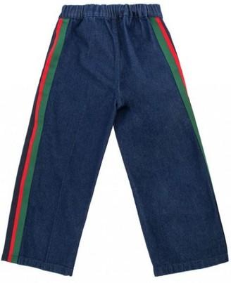 Gucci Boy's Blue Jeans w/Web Band