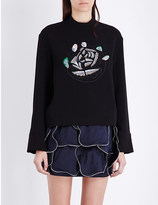 J.W.Anderson Floral-embroidered crepe top