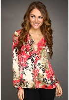 Jones New York Floral Paisley Ruffle Blouse (Wild Cherry Combo) - Apparel