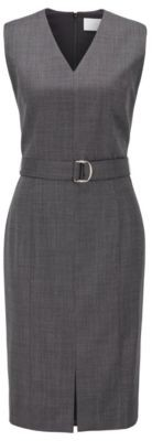 HUGO BOSS Sleeveless Dress In Checked Super Stretch Virgin Wool - Patterned