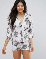 Asos Tropical Pastel Palm Print Traditional Shirt & Short Pajama Set