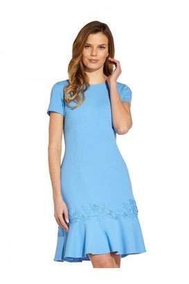 Adrianna Papell Applique Crepe Flounce Dress