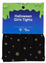 F&F Glitter Star Halloween Tights, Girl's