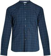 Boglioli Band-collar checked cotton shirt