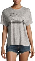 Rag & Bone Palm Embroidery Linen Jersey Tee, Gray