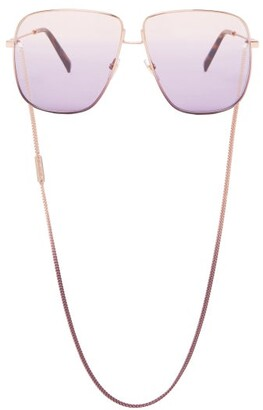 Givenchy Oversized-square Metal Sunglasses And Chain - Light Pink