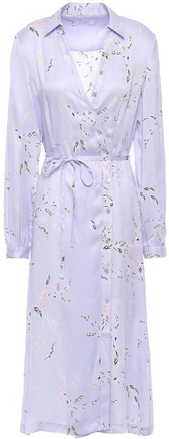 Equipment Fabienne Floral-print Silk-blend Satin Shirt Dress