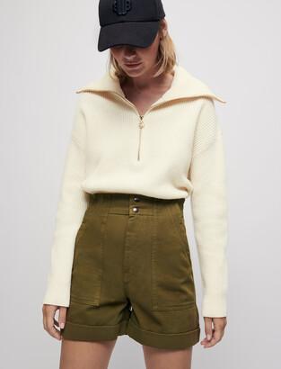 Maje Khaki cotton canvas shorts