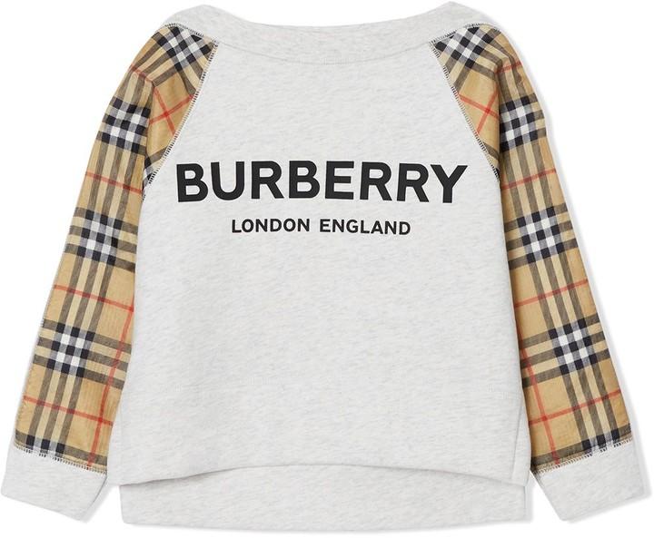 BURBERRY KIDS Vintage Check Detail Logo Print Cotton Sweatshirt