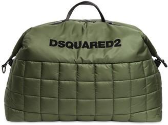 DSQUARED2 Logo Flocked Nylon Puffy Duffle Bag