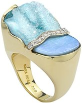 Kara Ross Split Petra Ring with Opal, Hemimorphite and Diamonds set in 18k Gold