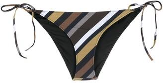 Ganni Striped Tie Fastening Bikini Bottoms
