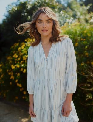 Forever New Yasmin Stripe Smock Dress - Blue Stripe - 14