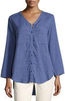 Eileen Fisher V-Neck Organic Cotton Gauze Pocket Shirt