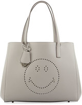 Anya Hindmarch Ebury Shopper Smiley Tote Bag, Light Gray