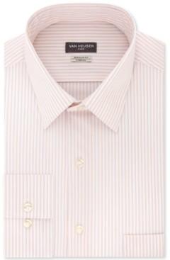 Van Heusen Men's Classic/Regular-Fit Non-Iron Performance Stretch Flex Collar Spark Stripe Dress Shirt