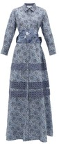 Evi Grintela Menara Floral-print Cotton Shirtdress - Womens - Blue Print