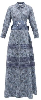 Evi Grintela Menara Floral-print Cotton Shirt Dress - Womens - Blue Print
