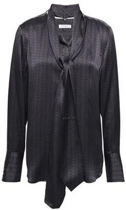 Equipment Luis Pussy-bow Printed Silk-satin Blouse