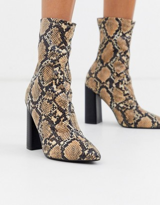 Public Desire Libby heeled ankle boot in natural snake