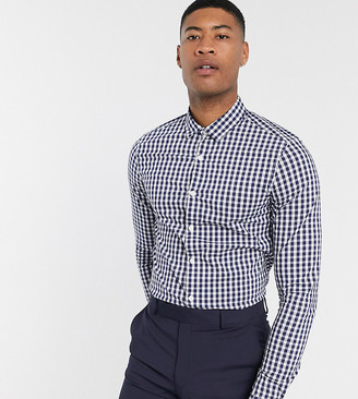 Asos DESIGN Tall slim fit check shirt in blue