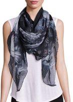 Alexander McQueen Midnight Bloom Silk & Modal Scarf