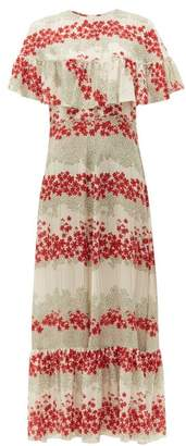 RED Valentino Floral Print Silk Crepe De Chine Dress - Womens - White Multi